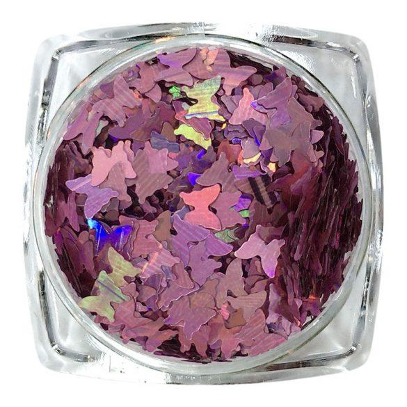 Ornament fluture - roz  cu hologram